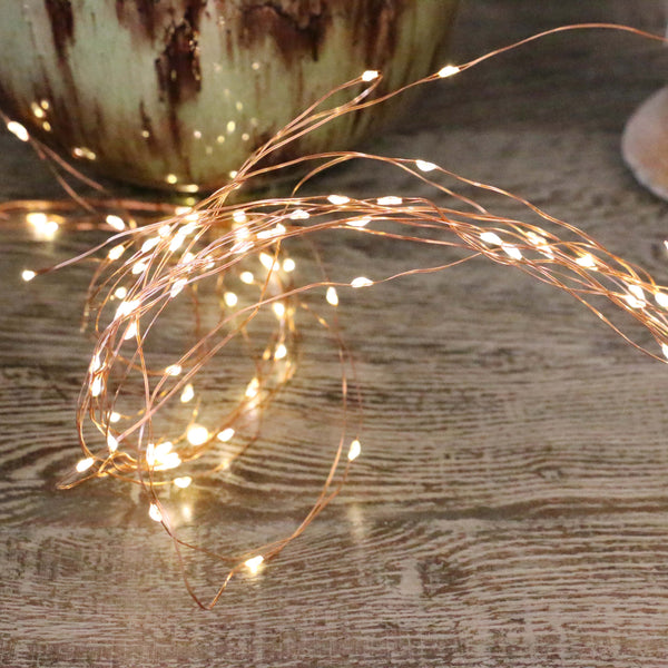 Waterfall of 500 seed lights with copper wire