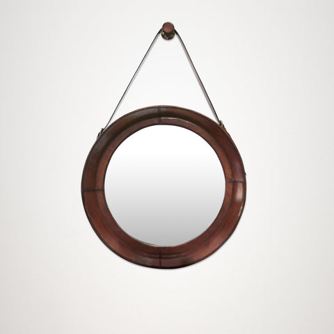 Medium Round Tan Leather Wall Hanging Mirror