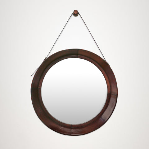 Large Leather Wall Hanging Mirror