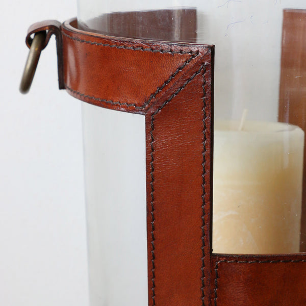 Leather Glass Hurricane in H design in Medium