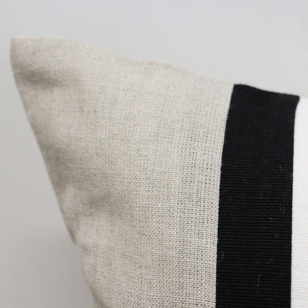 Large Natural Linen Cushion Cover with Thin Black and White Strips 60 x 60