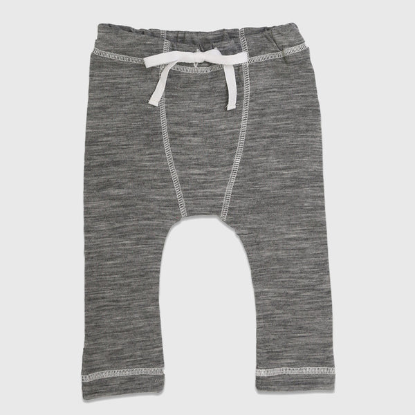 New Zealand Merino Long John Leggings in Grey Marl -  6 -12 months
