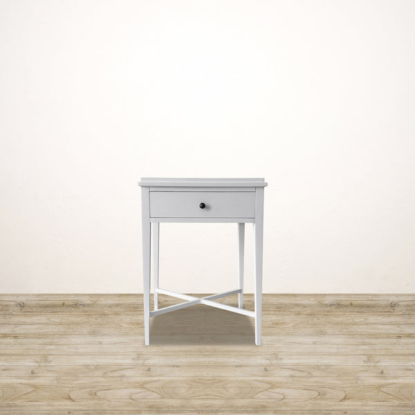 White Bedside Table with Drawer and Cross Base