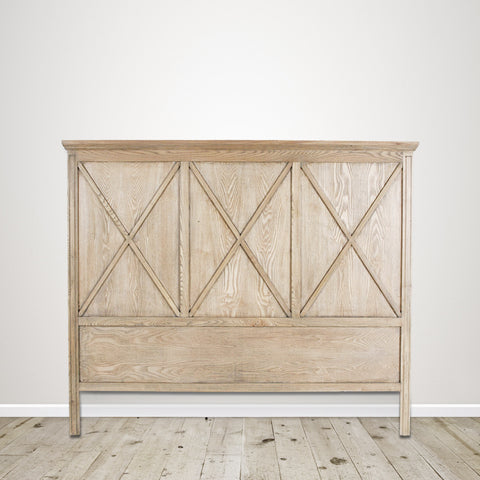 Queen Headboard with Cross Detail in Natural Oak