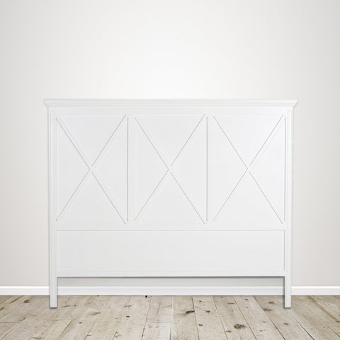Queen Headboard with Cross Detail in Poplar with White Painted Finish