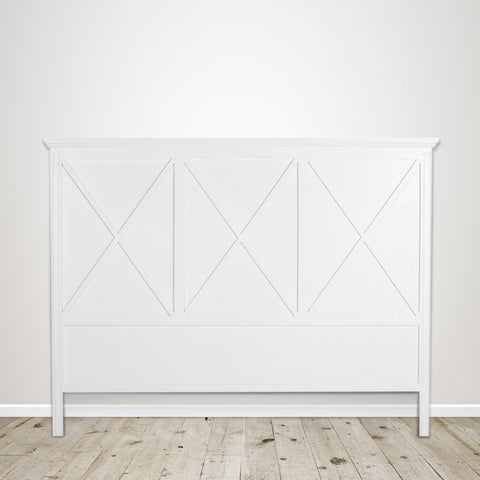 King Headboard with Cross Detail in Poplar with White Painted Finish