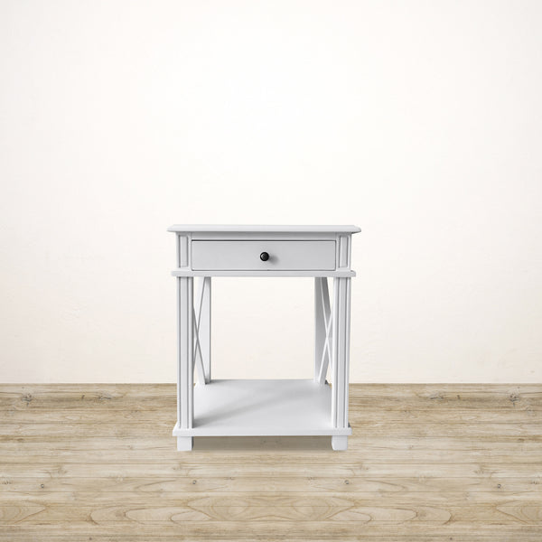White Bedside with Drawer and Shelf