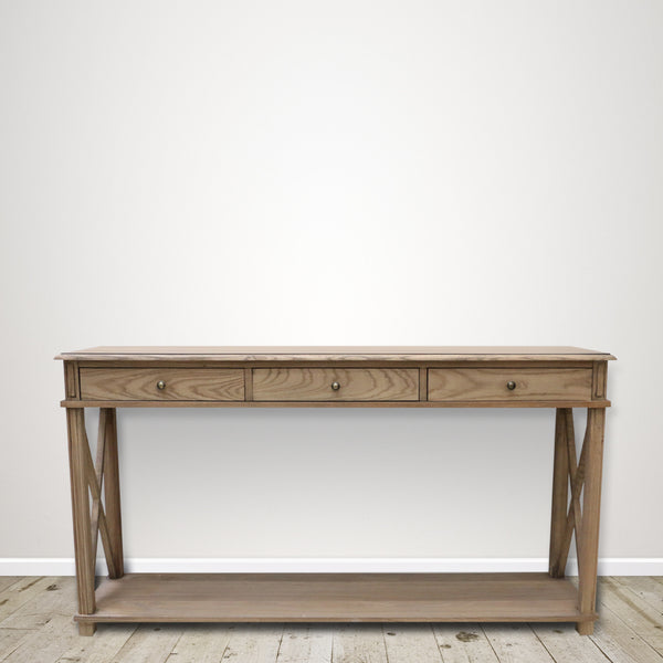 Oak Console with Three Drawers in Natural Oak