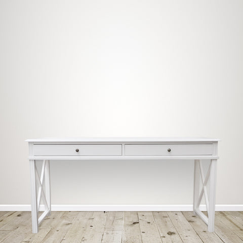 White Console with Two Large Drawers
