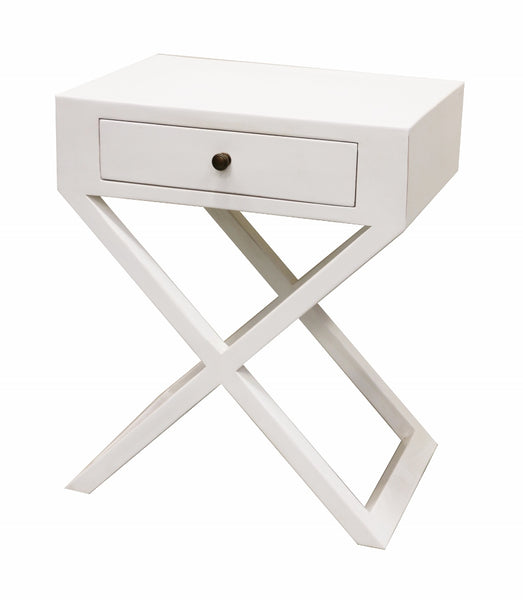 Bedside Table with Cross Legs in White Finish