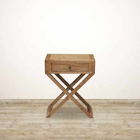 Bedside Table with Cross Legs in Natural