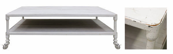 Industrial Coffee Table in White Wash