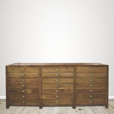 Recycled Pine Three Drawers and Three Cupboards