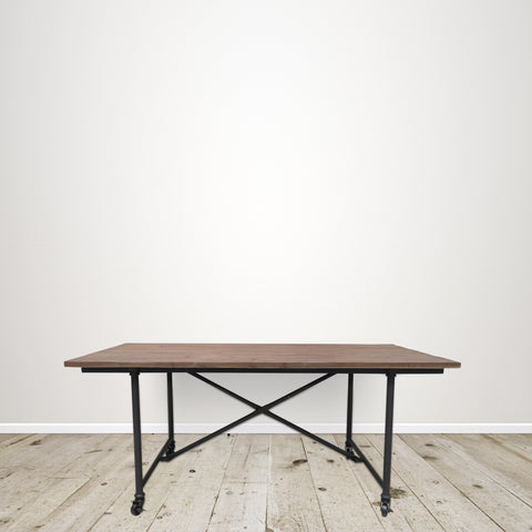 Industrial Dining Table with Recycled Elm Top