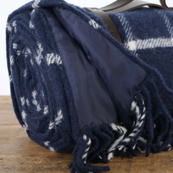 Polo Wool Picnic Rug with Leather Handles in Navy Check
