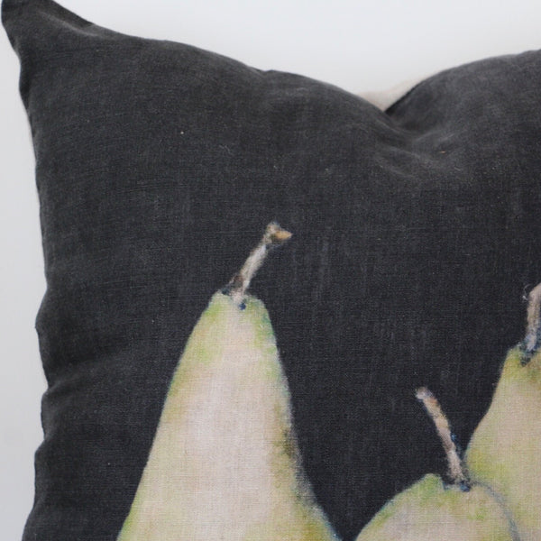 Noire Pear Linen Cushion Cover