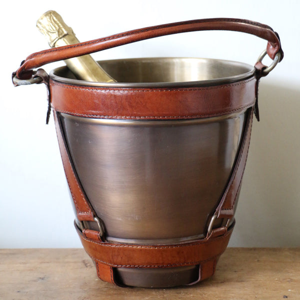 Brass Wine Cooler with Leather Handle