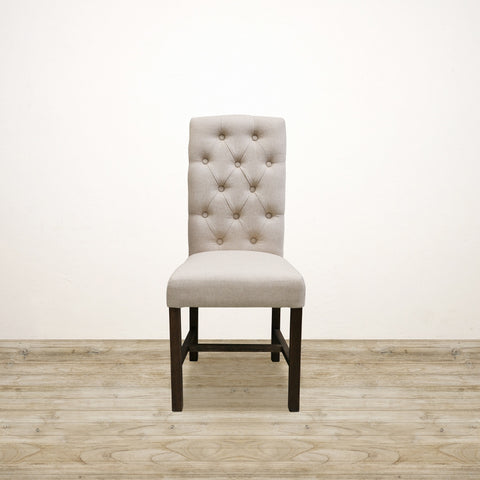 Deep Buttoned London Chair with Dark Oak Legs