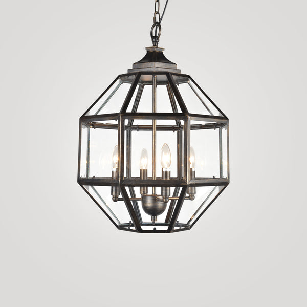 Hanging Glass Chelsea Chandelier in Dark Bronze Finish