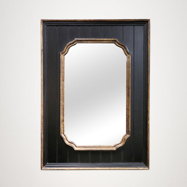 Rectangular Paneled Mirror in Black and Gold