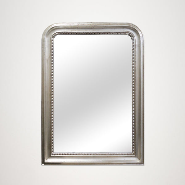 Silver Rectangular Mirror with Rounded Corners