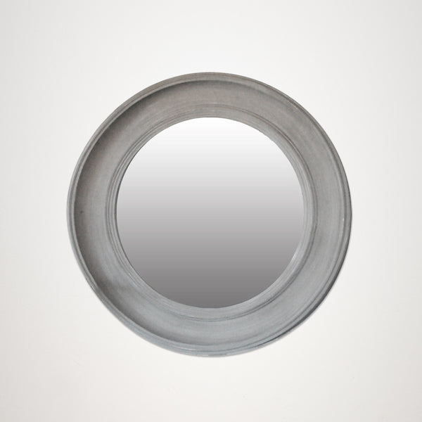 Soft Grey Round Timber Mirror