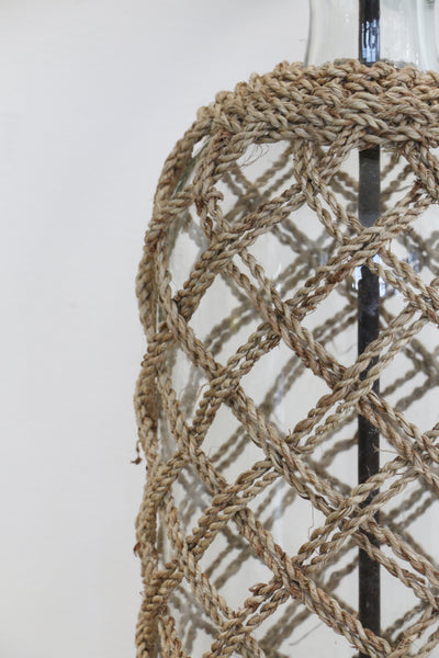 Glass Lamp with Jute Rope Detail and Complimentary Shade