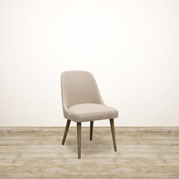 Sam Dining Chair in Natural Linen with White Washed Oak Legs