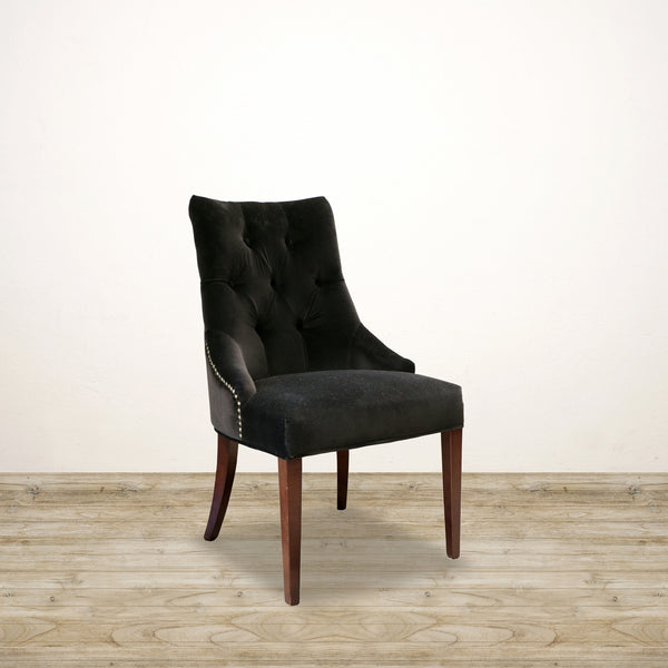 Deep Button Livinia Chair in Black Velvet