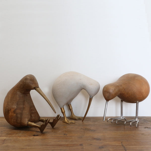 Wooden Kiwi with Metal Beak and Legs