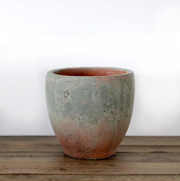 Handmade Organic Terracotta Pot with Mossy Detail - Small