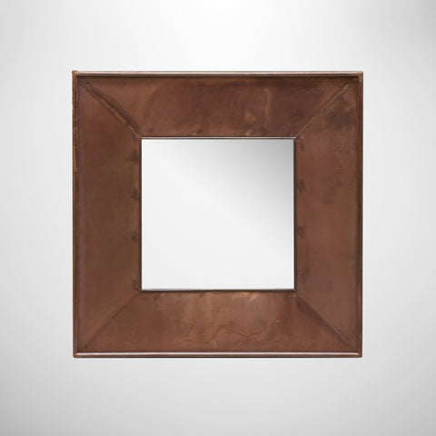 Iron Square Mirror with Leather Finish