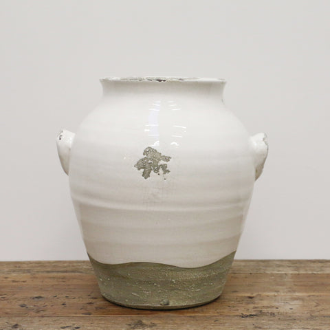 Antique White Provincial Style Urn with Handles Large