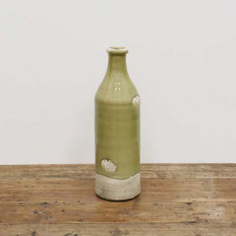 Antique Green Provincial Flask Vase Medium