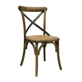 Vienna Dining Chair in Oak Colour with Metal Cross Back