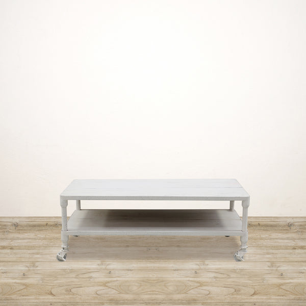 Coffee Table with Shelf White Wash 1200mm Long