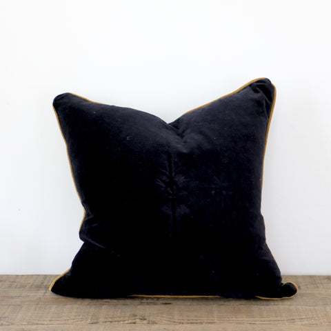 Black Velvet Cushion with Gold Piping