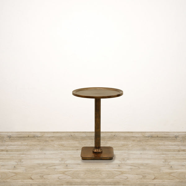 Round Side Table in Antiqued Brass Finish
