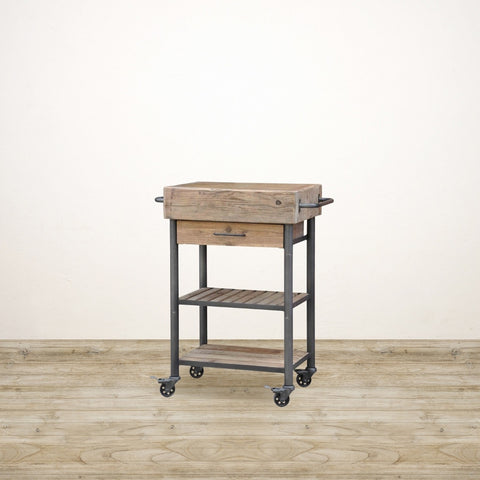 Industrial Butchers Block on Wheels