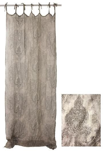 Linen Curtain - Charcoal Voile