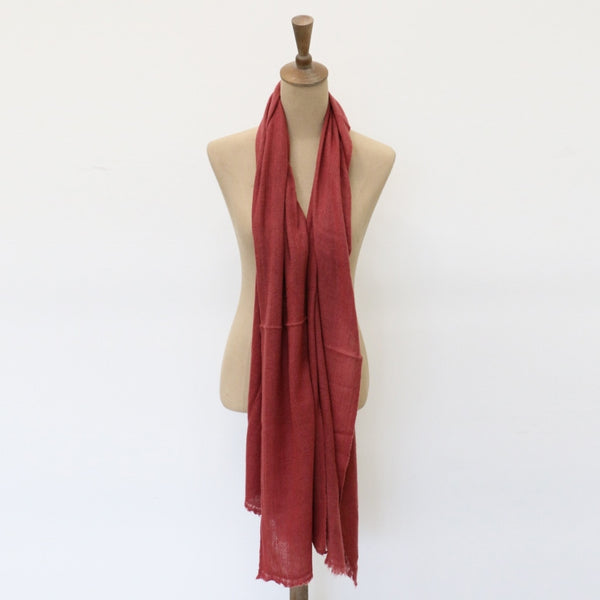 Cashmere and Wool Scarf in Red Masala