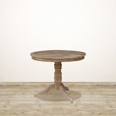 Reclaimed Elm Round Pedestal Table