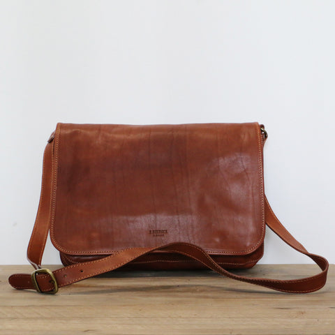 Leather Messenger Bag in Tan
