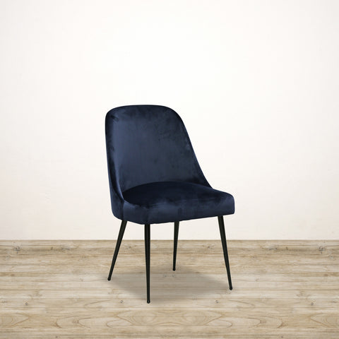 Sam Dining Chair in Blue Velvet with Metal Legs
