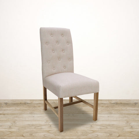 London Linen Dining Chair with Weathered Oak Legs