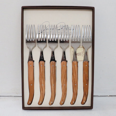 Laguiole Olive Wood Table Forks Set of 6