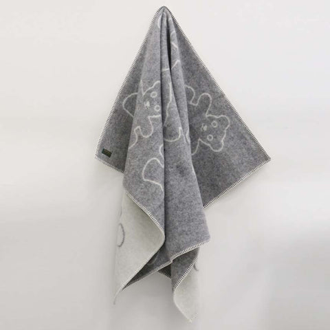 Reversible Woollen Baby Blanket Grey Teddy - Due End of may