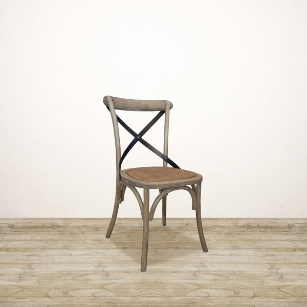 Vienna Cross Back Dining Chair with Metal Back in Light White Wash