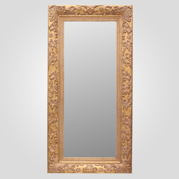 Rectangular Carved Gold Frame Mirror