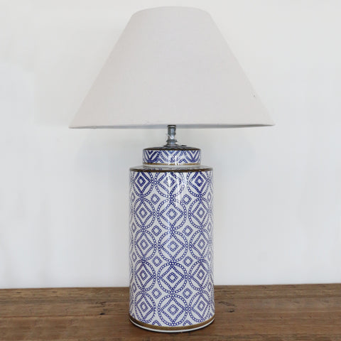 Blue & White Ceramic Cylinder Lamp